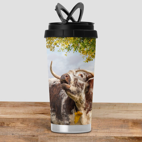 Longhorn Cow Travel Mug - Call of the fall - Kitchy & Co