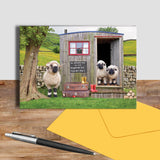 Valais blacknose sheep and shepherds hut greetings card - We welcome Ewe - Kitchy & Co