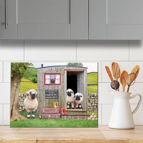 Valais balcknose sheep and shepherds hut glass chopping board - We welcome Ewe - Kitchy & Co
