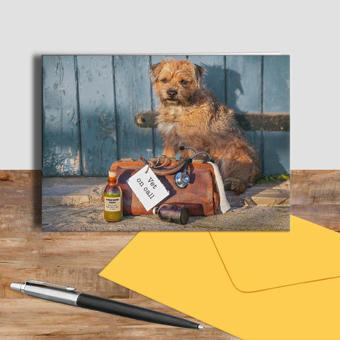 Border Terrier greetings card - Vet on call - Kitchy & Co