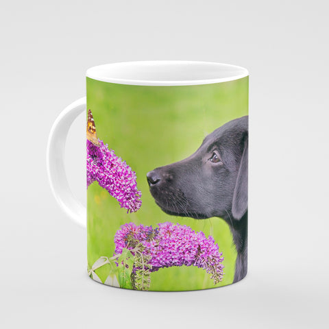 Labrador and Butterfly Mug - Take time to smell the flowers - Kitchy & Co