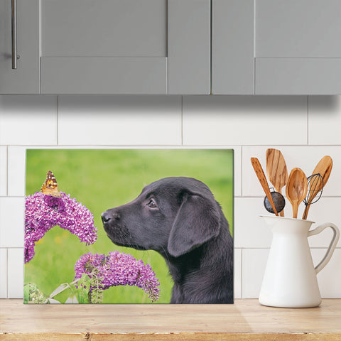 Labrador & Butterfly glass chopping board - Always take time to smell the flowers - Kitchy & Co