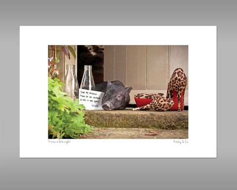 Pig Print - Please do not disturb it was a Late night - Kitchy & Co