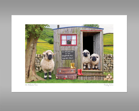 Valais Blacknose Sheep and Shepherds hut Print - We Welcome Ewe