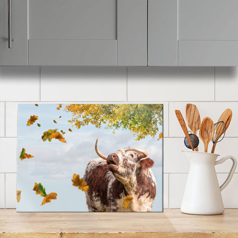 Longhorn Cow glass chopping board - Call of the Fall - Kitchy & Co