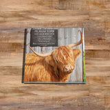 Highland cow Glass drinks Coaster - Meadow barn - Kitchy & Co