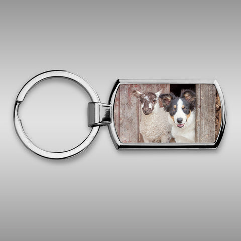 Tri Colour Border collie Keyring - If your name's not down - Kitchy & Co