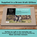Pet lambs and sheepdogs Glass chopping board - Cheeky Pet Lambs - Kitchy & Co