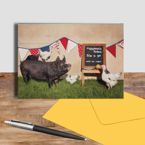 Pig and Chickens greetings card - Piggyback Rides - Kitchy & Co