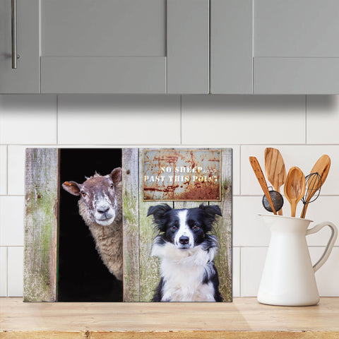 Border collie and sheep glass chopping board - Look Out ! She's Behind Ewe - Kitchy & Co