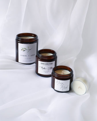 Customised and personalised soy candles for wedding and events from Borneo Candle Studio