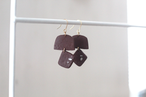 Kaiyah // Rustic Chocolate Clay Dangle Earrings