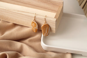 Leila // Gold And Pearl Clay Dangle Earrings