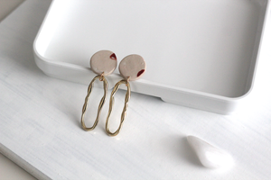 Mira // Beige And Gold Clay Dangle Earrings