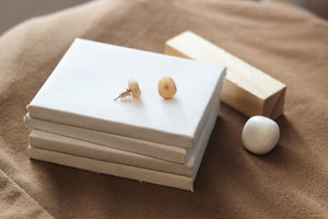 Nina // Beige Minimalist Clay Stud Earrings