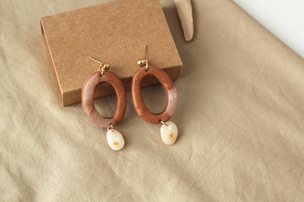 SAHARA // Copper Dangle Drop Clay Earrings