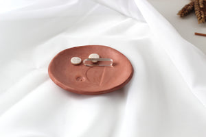 TERRACOTTA MINI CLAY TRINKET DISH || Halfmoon Ring Bowl
