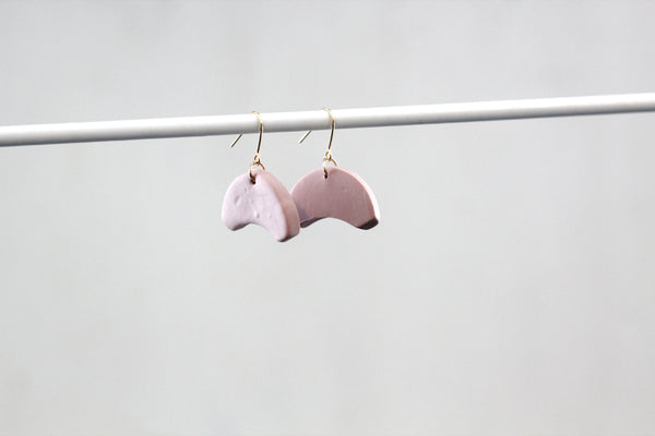 THEA // Dusty Pink Minimalist Half Moon Semi-Circle Dangle Earrings