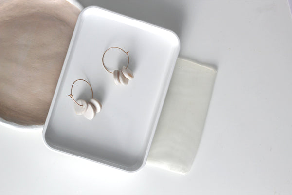 Zuri // Pearl White Clay Hoop Earrings
