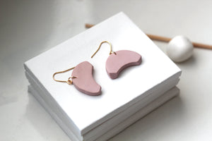 THEA // Dusty Pink Semi-Circle Clay Earrings