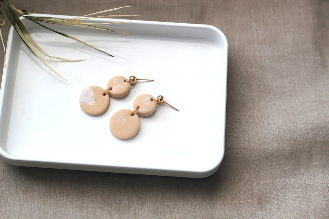 NALAH // Peach and Gold Clay Dangle Drop Earrings