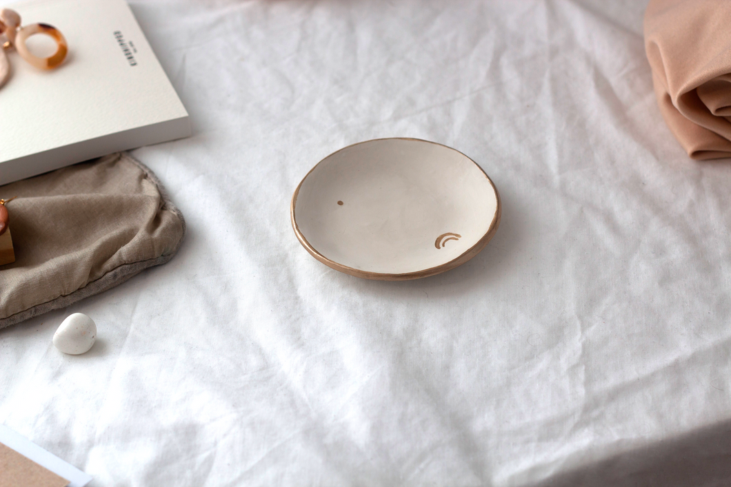 GOLD RIMMED MINI CLAY DISH || Jewellery Trinket Plate