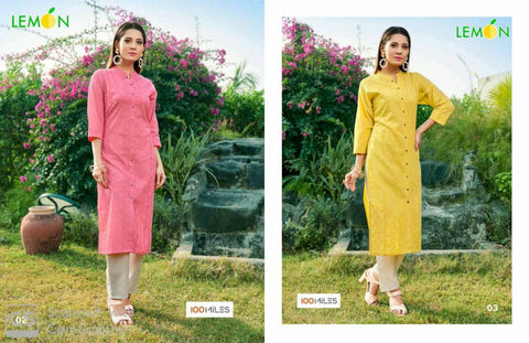 100 Miles Lemon Collection Of Trendy Looking Kurti