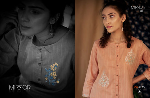 100 Miles Mirror Pure Cotton Stylish Modern Embroidered Kurti Collection