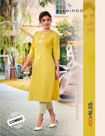 100 Miles Flamingo Cotton Linen Embroidered Kurti With Pants Collection