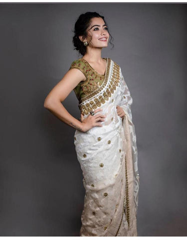 Online Letest Designe White Color Party Wear Saree