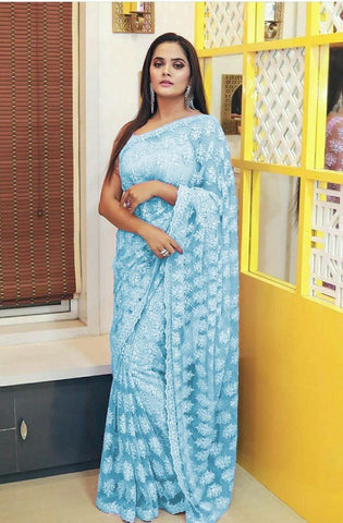 Trendy Party Wear Sky Blue Saree For Girls(diwali)
