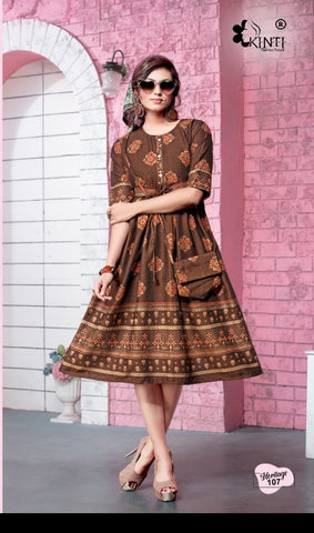 Kinti Presents Heritage Rayon Two Tone Fancy Designer Kurtis Collection