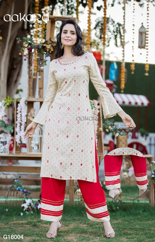 AAKARA GOLD VOL 16 KURTI WITH PANT PLAZO SHARARA AND DUPATTA