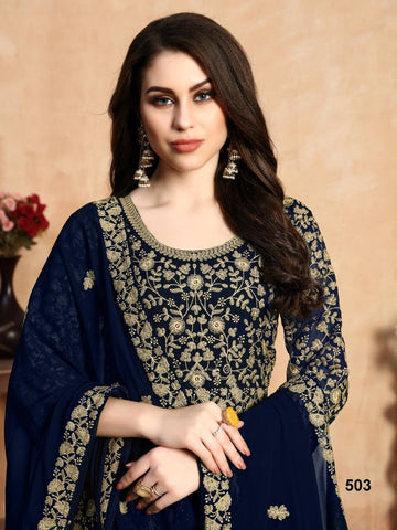 AANAYA VOL.105 DESIGNER FAUX GEORGETTE WEDDING WEAR DRESS MATERIAL