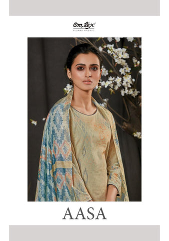 OMTEX AASA LAWN COTTON DIGITAL PRINT DRESS MATERIAL WITH HANDWORK