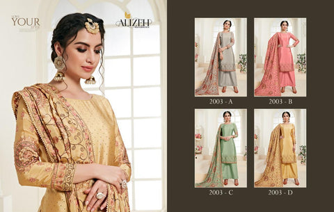 Alizeh Zaida Chinon Heavy Embroidery Fancy Designer Salwar Suit