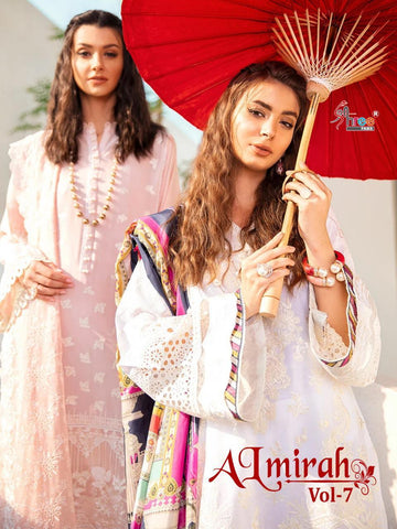 Shree Fabs Al Mirah Vol 7 Cotton Embroidery Work Pakistani Suits