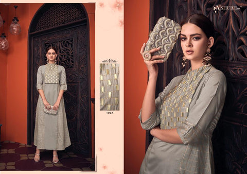 SHUBH NX ANKA DESIGNER VISCOSE HANDWORK KURTI COLLECTION
