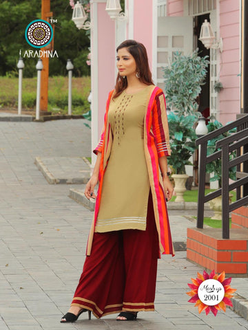 Aradhna Mashup Rayon Cotton Fancy designer Kurti Collection With Plazzo