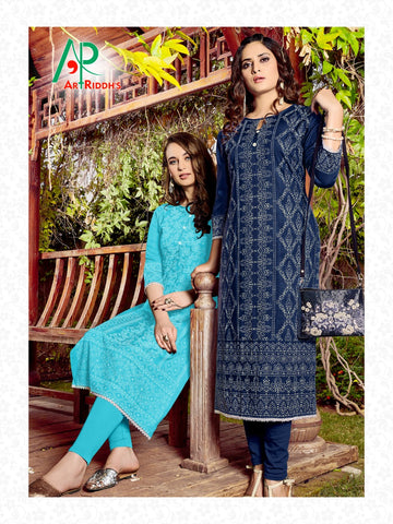 Art Riddh's Presents Mall Culture Season Next Rayon Designer Kurtis Collection