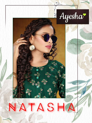 Ayesha Presents Natasha Rayon Slub Printed Stylish Designer Kurtis Collection