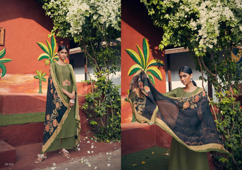 Angroop Plus Emerald Pure Jam Silk Cotton Printed Casual Wear Suit Collection In Wholesale