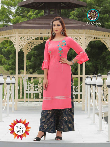 Aradhna Mashup Vol 2 Cotton Rayon Kurti Sharara Palazzo Skirt Pant