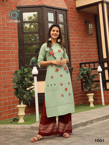 Aradhna Fashion Girl Vol 1 Rayon Embroidered Party Wear Kurti With Plazzo