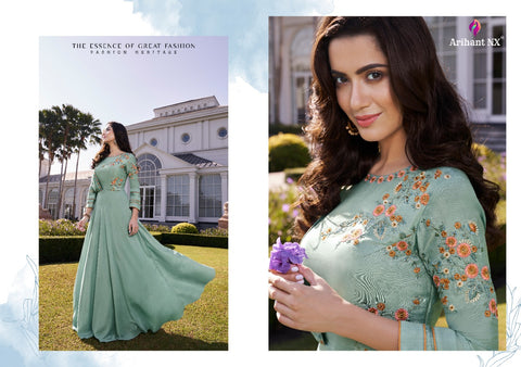 Arihant Designer Simran Soft Silk Long Gown Kurti Collection In Wholesale