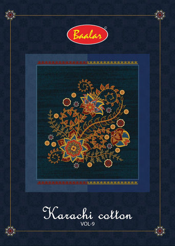 Baalar Launched Pure Cotton lawn Vol 9 Karachi Cotton Casual Wear Salwar Suits