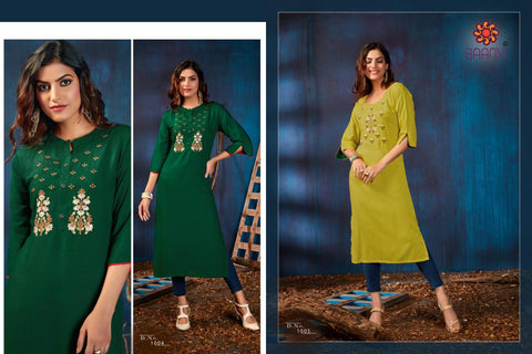Baanvi Presents Riya Vol 1 Rayon Slub Embroidery Work Stylish Designer Kurtis Collection