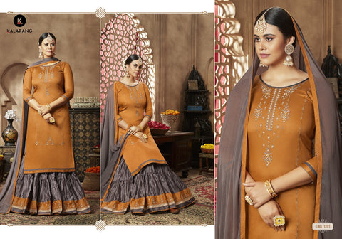 KALARANG BELLONA VOL.11 JAM SILK WEDDING WEAR LEHENGA WITH LONG KURTI AND DUPATTA