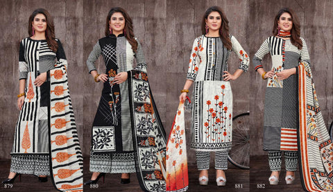 BIPSON AAA BLACK PURE COTTON DIGITAL PRINTED DRESS MATERIAL