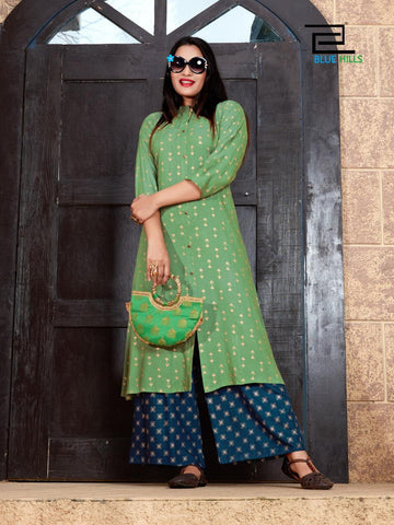 Blue Hills Presents Style In Vol 3 Gold Printed Rayon Designer Kurtis Collection